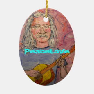 silver haired folk rocker PeaceLove Ceramic Ornament
