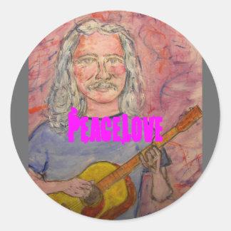 silver haired folk rocker PeaceLove Classic Round Sticker