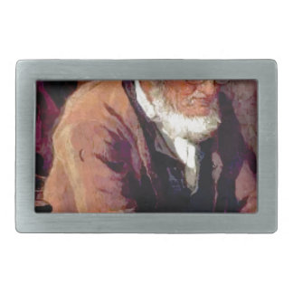 silver haired man old rectangular belt buckle