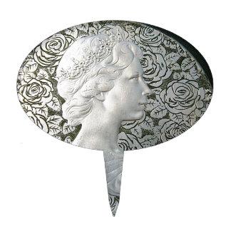 SILVER HAND ENGRAVED ELIZABETH II CAKE TOPPERS