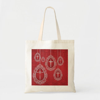 Silver hanging Easter eggs with crosses Tote Bag