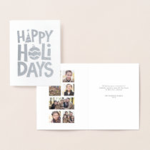 Silver Happy Holidays photo collage card