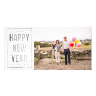 Silver Happy New Year Faux Glitter on White Card