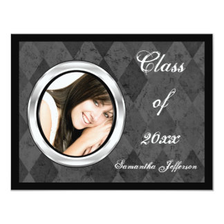 Silver Harlequin Round Frame Photo Graduation Card