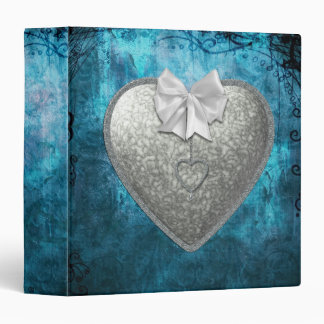 Silver Heart 3 Ring Binder