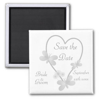 Silver Heart And Butterflies Save The Date Magnet