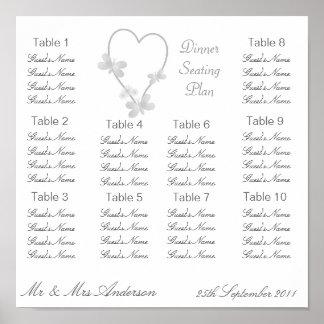 Silver Heart And Butterflies Wedding Dinner Seatin Poster
