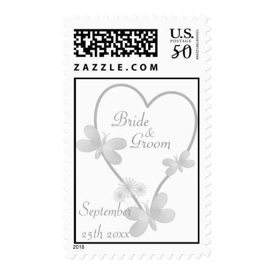 Silver Heart And Butterflies Wedding Postage
