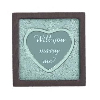 Silver Heart Aqua Swirl Engagement Gift Box