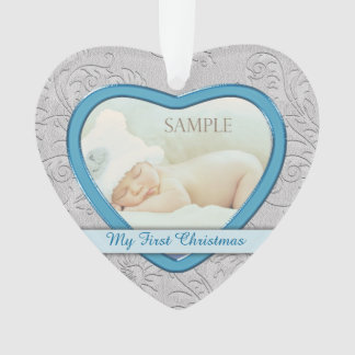 Silver Heart Blue Baby Boy First Christmas Ornament