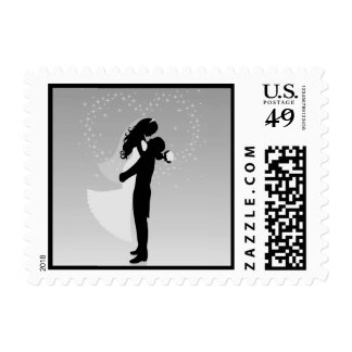 Silver Heart Bride And Groom Silhouette Postage Stamp
