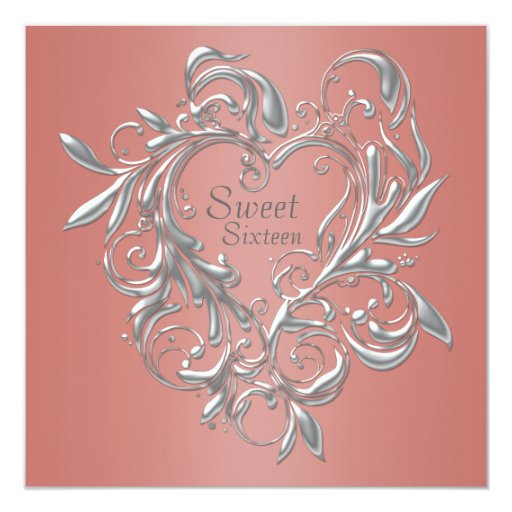 Z Coral Card Silver Heart Co...