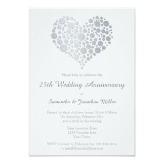Silver wedding anniversary invitations announcements zazzle silver heart faux foil 25th wedding anniversary card stopboris Images