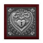 Silver Heart Lock Keepsake Boxes