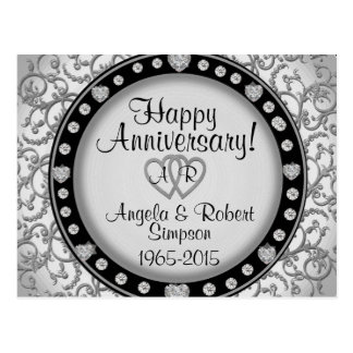 Silver Heart Monogram | Anniversary Invitation Postcard