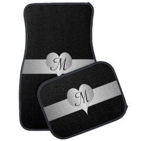 Silver Heart Monogrammed Floor Mat