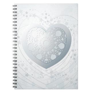 Silver heart, notebook