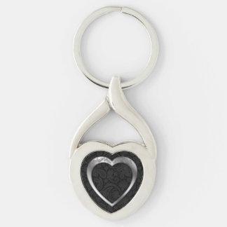 Silver Heart on Black -Key Chain Keychain