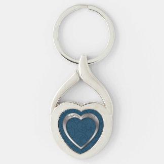 Silver Heart on Blue - Key Chain