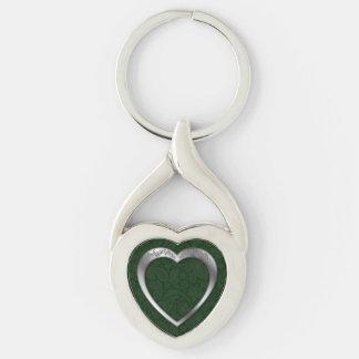 Silver Heart on Green - Key Chain