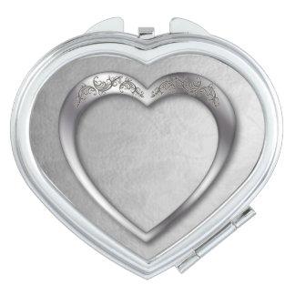 Silver Heart on Silver - Heart Compact Mirror