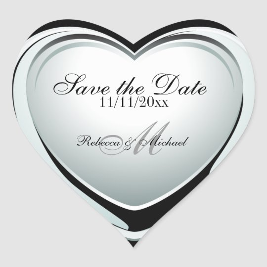 Silver Heart Pendant Save the Date Heart Sticker