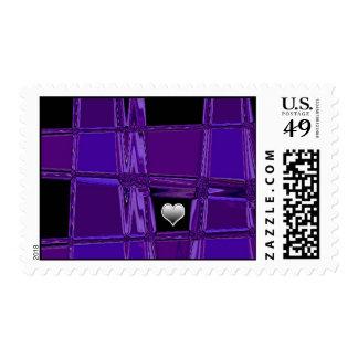 Silver Heart Purple Background Postage