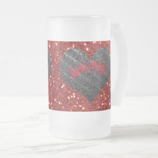 Silver Heart, Red LOVE - Valentine's Day Frosted Glass Beer Mug