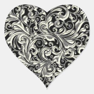 Silver Heart Seals Lace Look Filigree Design Heart Sticker