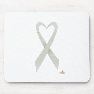 Silver Heart Shaped Awareness Ribbon Mouse Pad