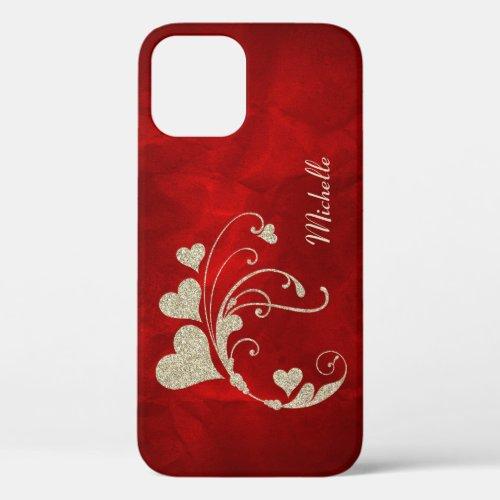 Silver Heart Swirl Faux Glitter on Red Phone Case