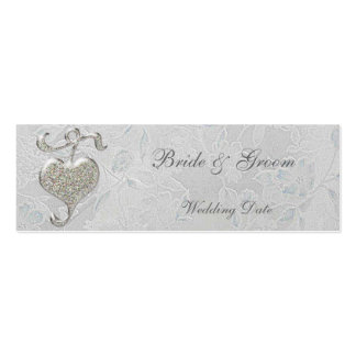 Silver Heart Thank You Wedding Favor Tag Double-Sided Mini Business Cards (Pack Of 20)