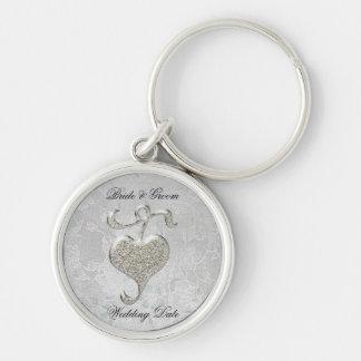 Silver Heart Wedding Favor Keychains