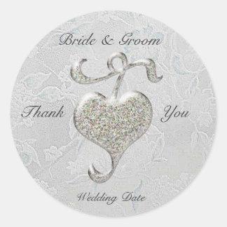 Silver Heart  Wedding Sticker