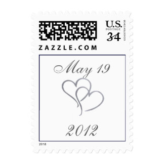 Silver heart with initials - diy - 32 cents postage stamps