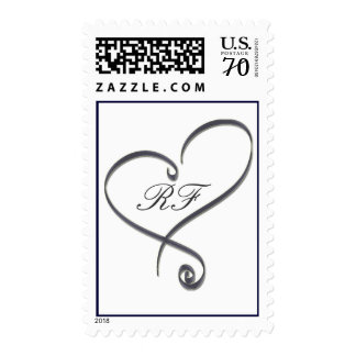 Silver heart with initials - diy - 65 cents postage