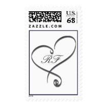 Silver heart with initials - diy - 65 cents postage stamp