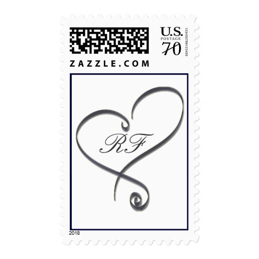 Silver heart with initials - diy - 65 cents stamp
