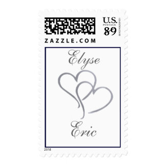 Silver heart with initials - diy - 85 cents postage stamp