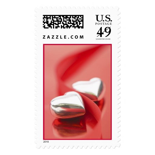 Silver Hearts (1) [CUSTOMIZE] Postage Stamp