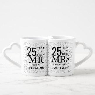Silver Hearts 25th Anniversary Mr Mrs Right Coffee Mug Set
