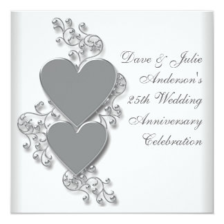 Silver Hearts 25th Wedding Anniversary Party Card