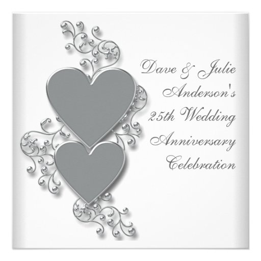 Silver Hearts 25th Wedding Anniversary Party Invitation