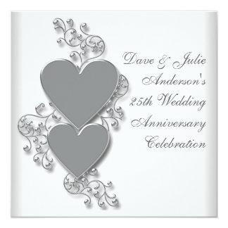 """Silver Hearts 25th Wedding Anniversary Party 5.25"""" Square Invitation Card"""