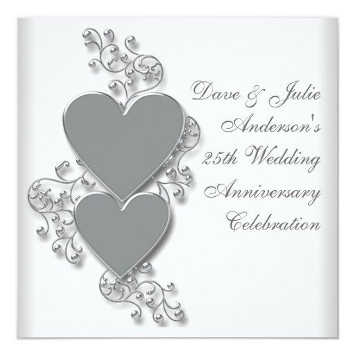 25th Wedding Anniversary Gift Certificate Template : Silver Hearts 25th Wedding Anniversary Party Invitation Zazzle