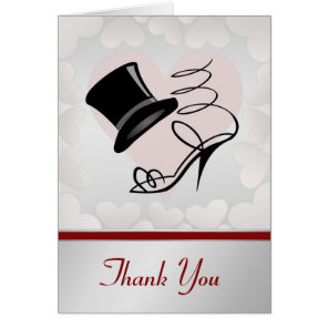 Silver Hearts Black Top Hat and High Heels Card