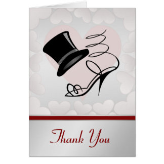 Silver Hearts Black Top Hat and High Heels Stationery Note Card