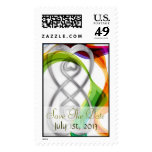 Silver Hearts Double Infin & Rainbow Save The Date Postage