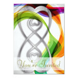 Silver Hearts Double Infinity & Rainbow Ribbons- 1 Personalized Announcement