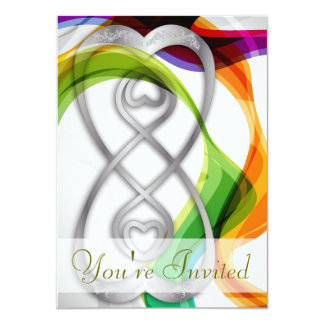 Silver Hearts Double Infinity & Rainbow Ribbons- 1 4.5x6.25 Paper Invitation Card